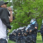 Police and counter demonstrators face off after a