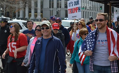 Supporters of President Trump marching in downtown Denver.