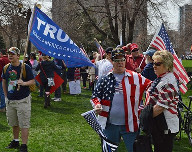 Supporters of President Trump rally at Civic Center Park in Denver.