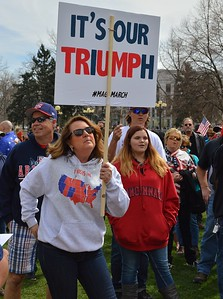 Supporters of President Trump rally in downtown Denver.
