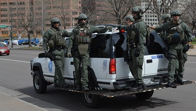 Denver police SWAT team was on the scene as supporters and opponents of President Trump garthered for a rally.