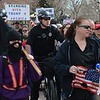 Denver police on bicycles escorted a pro President Trump march that was followed by anti-Trump, anarchist protesters.