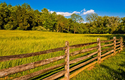 Fence in a meadow at Antietam National Battlefield, Maryland.