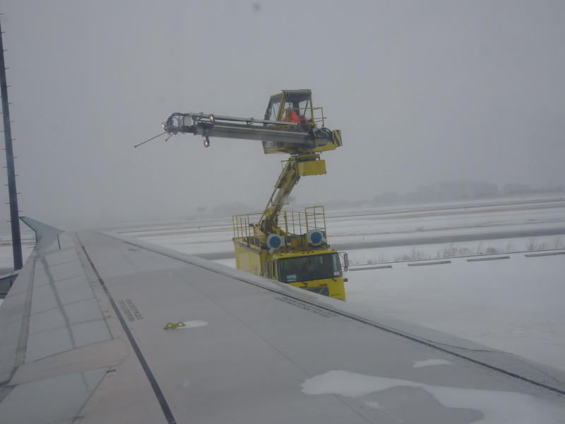 getting de-iced prior to take off, during major ice storm