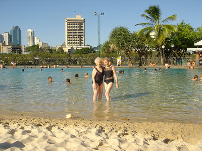 Susan and Mom enjoying the water at Southbank in Brisbane 2007