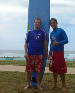 Alexander's first attempt at Ocean Surfing with his instructor, Rainbow Bay, Kirra Beach, Gold Coast, Australia 2006