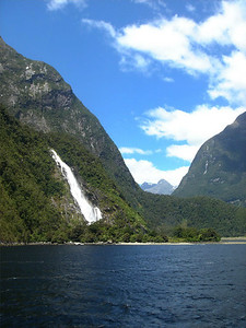 Waterfall in Milford Sound, New Zealand 2005