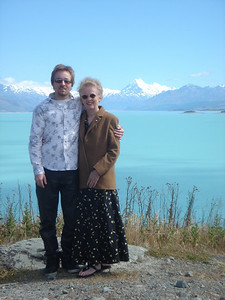 Susan & Alex at Lake Pukaki, New Zealand 2005 The turquoise colour of the lake is a result of suspended material in the water