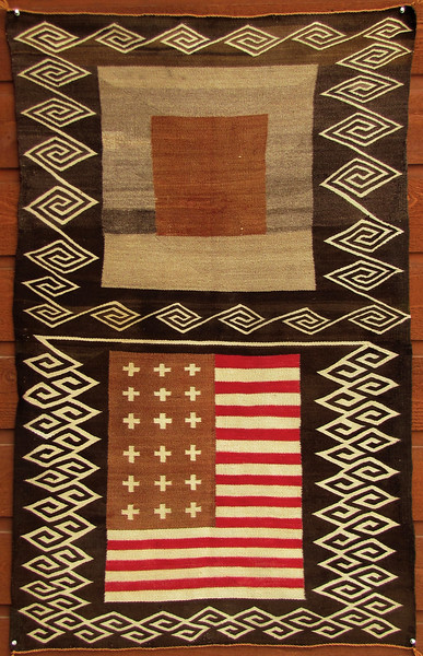 """Navajo """"Double-Saddle"""" Blanket with American Flag"""