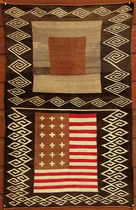 "Navajo ""Double-Saddle"" Blanket with American Flag"