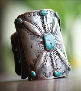 Vintage Incised Navajo Ketoh (Bowguard) with Turquoise Embellishments