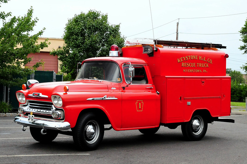 Keystone Hook & Ladder Co Myerstown, PA  Rescue Truck  1958 Chevy/Morrison Steel Body