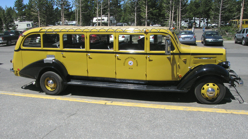 Restored 1936 White model 706 tour bus at Yellowstone.