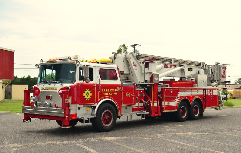 BARRINGTON, NJ TOWER LADDER 91 - 1986 MACK CF/BAKER 95' EX-EAST ISLIP, NY.