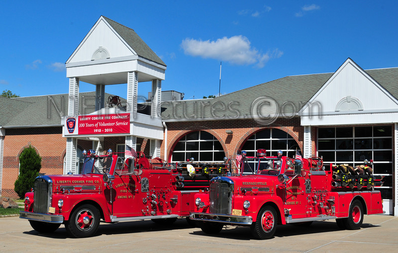 Liberty Corner and Bernardsvile NJ's 1958 Ward LaFrance pumpers posed together