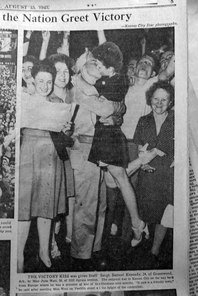 WWII Ends - Kissing Soldier Photo in KC Times