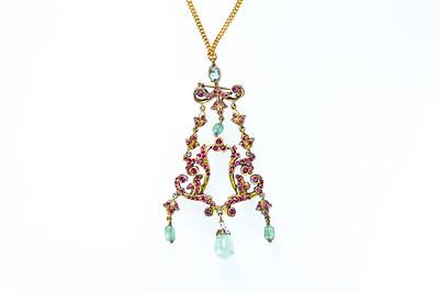 Circa 1800 Gilt Silver, Emerald and Ruby pendant