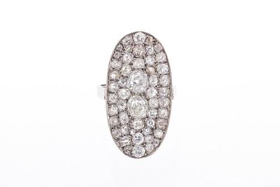 Edwardian Platinum and Antique Diamond Oval Cobblestone Ring