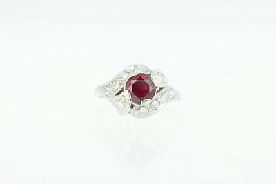 Retro Garnet, Diamond and Gold Ring