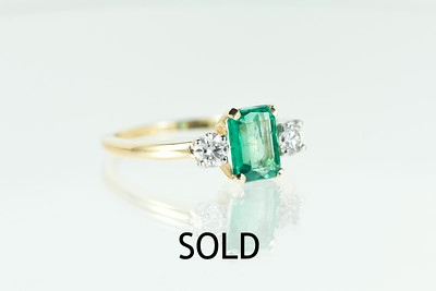 F.&F. Felger Colombian Emerald and Old European Cut Diamond Ring