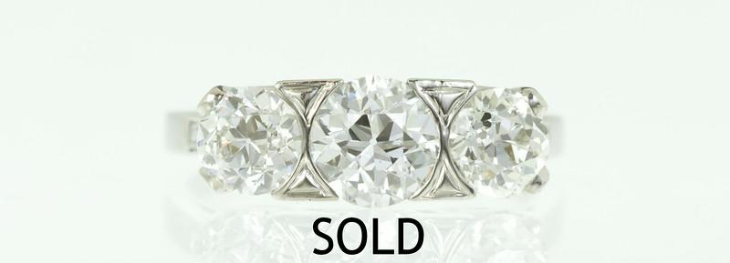 Art Deco Platinum and OEC 3-Stone Ring