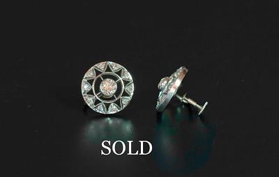 Edwardian Fabricated Platinum and Diamond Earrings