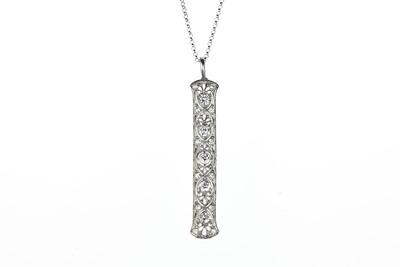 Edwardian Platinum and Old European Cut Diamond Pendant