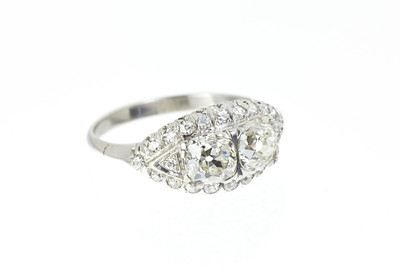 Edwardian-style Platinum and Old Mine Cut Engagement Ring