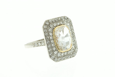 French 1920s Diamond, Platinum and Gold Ring