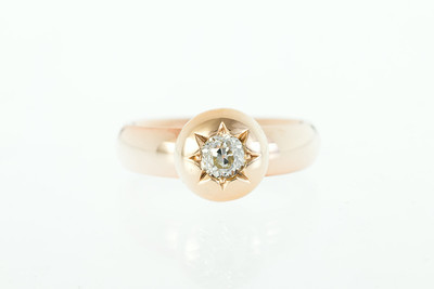 Rose Gold and Old Mine Cut Diamond Ring