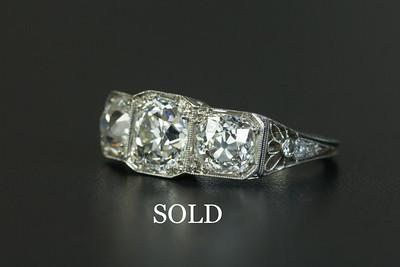 Platinum W. Wise & Sons 3-stone Diamond Engagement Ring