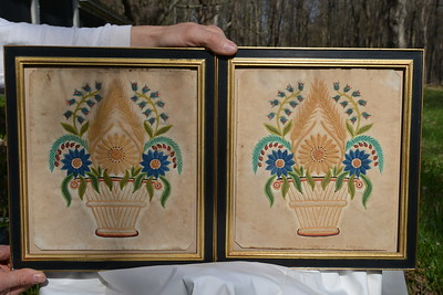 Pair of silk? embroidered pictures.