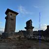 pillar tombs at sunset