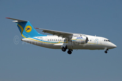 UIA (Ukraine International Airlines) (www.flyuia.com) Antonov An-148-100B UR-NTD (msn 0110) (AeroSvit fuselage colors, UIA tail logo) GVA (Paul Denton). Image: 910059.