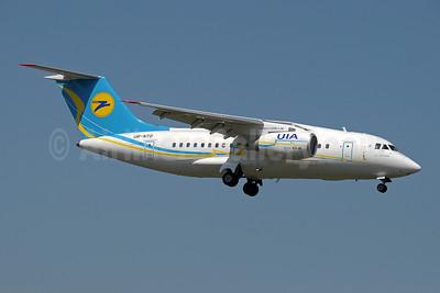 UIA (Ukraine International Airlines) (www.flyuia.com) Antonov An-148-100B UR-NTD (msn 0110) (AeroSvit fuselage colors, UIA tail logo) GVA (Paul Denton). Image: 910059.