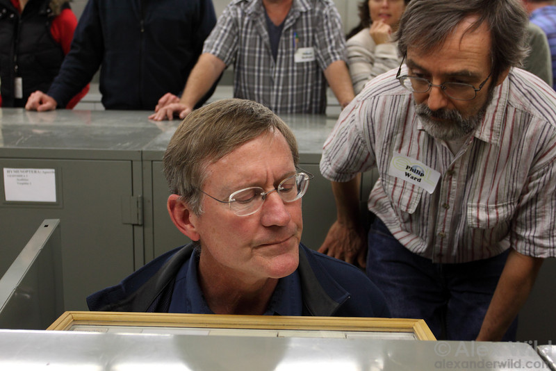 Jack Longino and Phil Ward examine ant specimens at the Chicago Field Museum.
