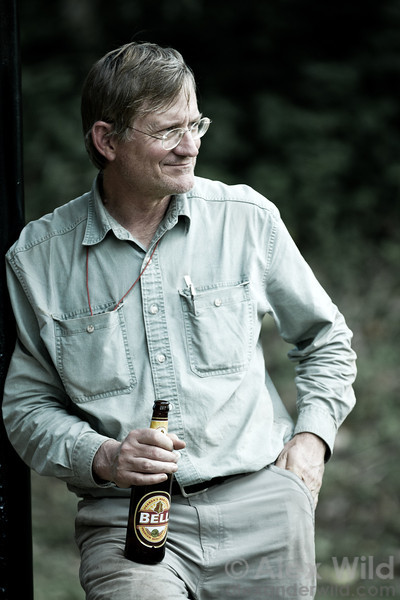 Nothings beats a cold beer at the end of a long day.  Jack Longino in Kibale forest, Uganda