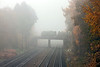 16th Nov 12:  3S83 the  RHTT MPV working from Aldershot to Woking crosses the South Western Main Line at Pirbright