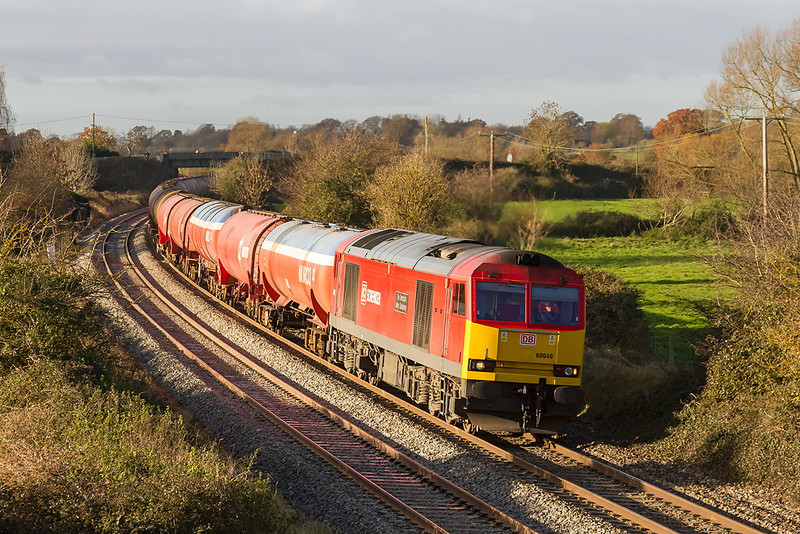 6th Dec 13:  Running over 6 hours late as it passes Great Cheverell is 60040 at the helm of 6A11 the Murco tanks from Robeston to Theale