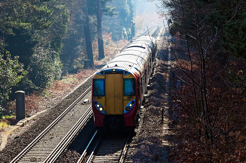 19th Feb 13:  The 11.00 from Guildford is almost at it's Ascot destination where 458016 will reverse and head back to Guildford via Aldershot