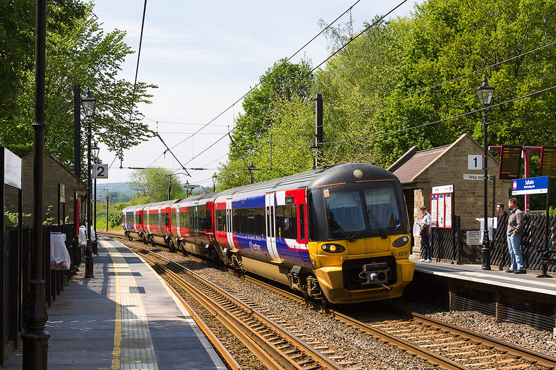 15th May 2015:  Northern Trains Pioneer unit 333001 arriving at Saltaire ith 2H47 the 14.17 Skipton to Leeds