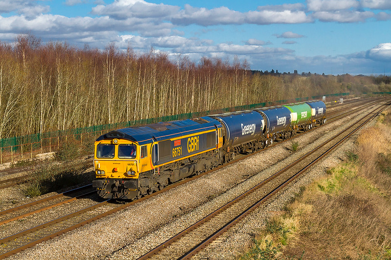 2nd Feb 2018:  GBRf import 66751 runing through Undy with a short train of 'Greenergy' TEA-tanks. 6Z78 started from Long Marston at 11.09 and is heading for Cardiff Docks.  The 'Greenergy'  wagons may be used for a new traffic flow - hopefully