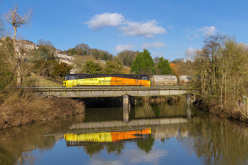30th Jan 2018:  Crossing the River Avon at Bradford on Avon is 70812 as it works 6C36 from Westbury Lafarge to Aberthaw with the empty cement tanks.