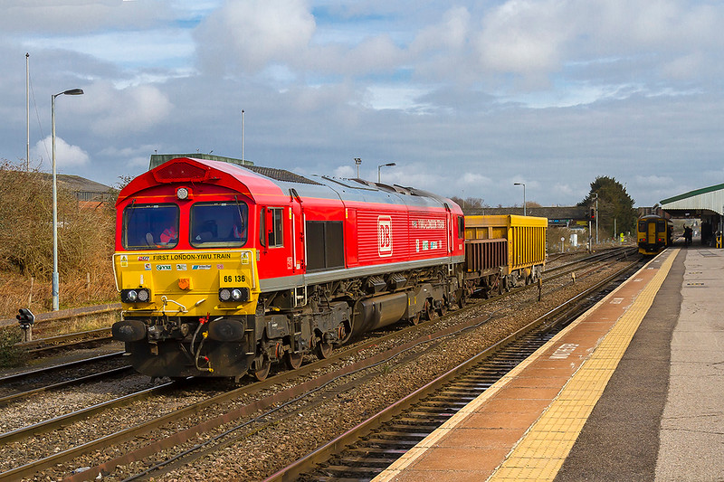6th Mar 2018:  66136 is acting as Westbury yard shunter.  The branding shows that this was the loco that  did the final leg of the freight train that ran from China to London