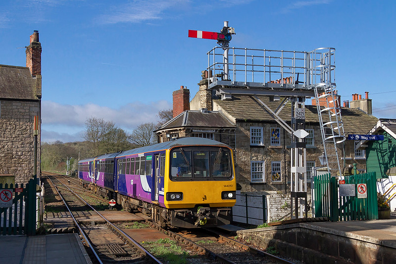 20th Apr 2018:  Arriving at Knaresborough, it's destination,is 144010 with 2C16 the 08.55 from Leeds.  The rear of the train is still on the viaduct.