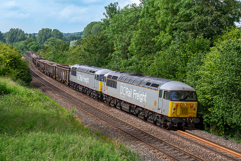 24th Jun 2019:  On the first working of a new service  DCR 56s 56103 & 56091 are pictured at Sherrington as they work 6Z91 from Westbury to Southampton Up Yard