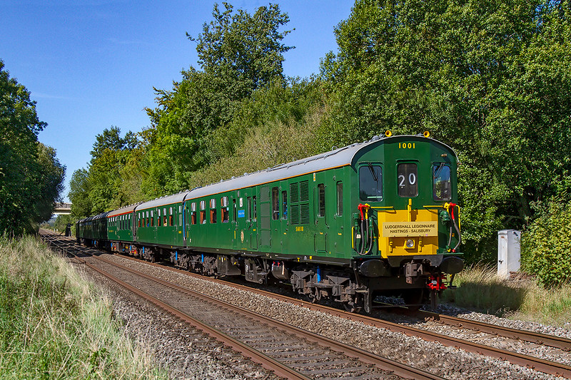 14th Sep 2019:  Pictured at Townsend Crossing in Wylye is Hastiings unit 1001.'Tunbridge Wells'  !Z20 is the 'Ludgershall Legionnaire' tour that started from Hastings at  07.55 and is actiually 2 minutes early at this point. and sounding very healthy.  It came via London and the Berks & Hants line and it is going to Salisbury via Ludgershall.  After the Salisbury stop it will return to Hastings  via the coastal route