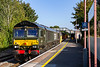 21st Sep 2020: Celebrity 66779 'Eveneing Star' ia  at Warminster as it comes back to Westbury with 6V41 departmental from Eastleigh.  Tucked inside is Coas 70809.  Since appearing in the area this is the 3rd time that it has been tasked with the Eastleigh tripper.  The 82F shed plate represents the old Midland Railways  Bristol Barrow Road shed.