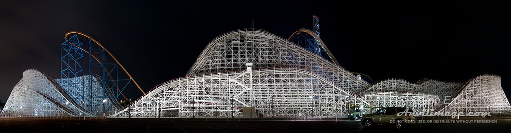 Colossus Pano from Six Flags Magic Mountain in Valencia, CA. Shot on a tripod.
