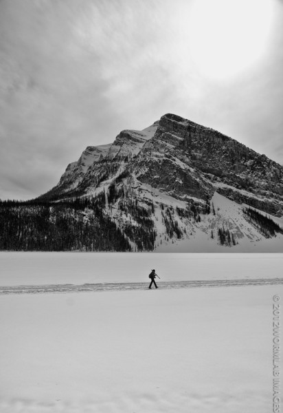 14April12 - Tripod shooter walking on water. This is the middle of Lake Louise in Alberta's Banff National Park. This tog was walking our way straight to Victoria glacier (if you've been to Lake Louise you probably remember canoeing over to Victoria).